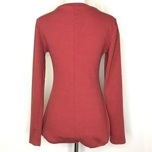 Pants - Reddish Pink V-Neck Long Sleeve Body Suit A090542